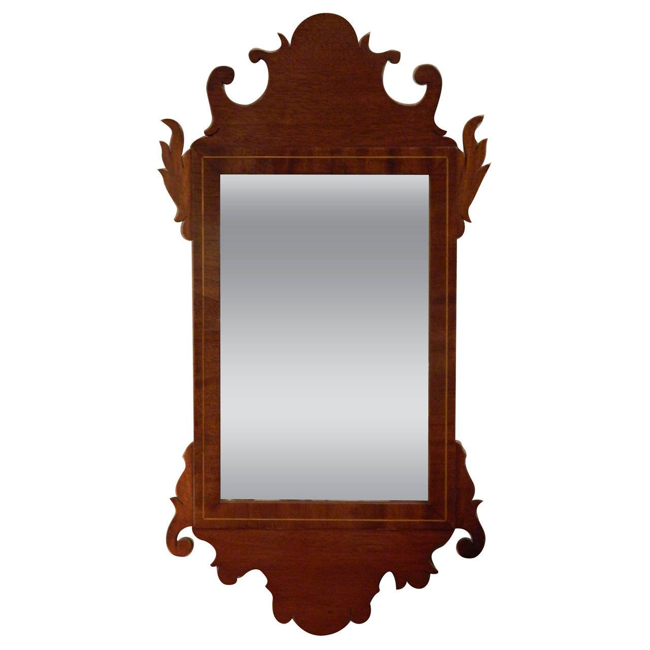 American federal inlaid mahogany looking glass mirror for Looking mirror