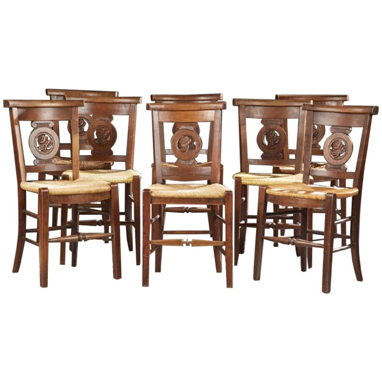 Carved Cherry Rush Seat Dining