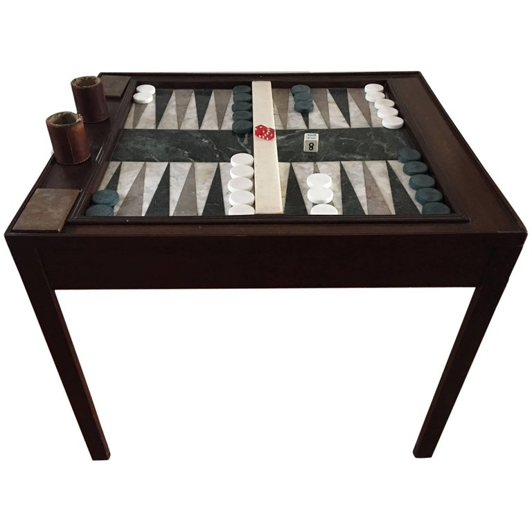 Custom Made Chippendale Style Mahogany Marble Backgammon Table, 20th Century
